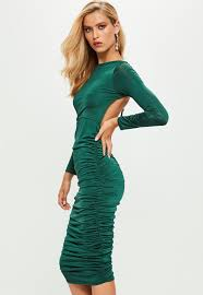 green slinky ruched side midi dress missguided