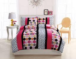 Girls Striped Bedding by Black White U0026 Pink Polka Dot Stripe Teen Bedding Full