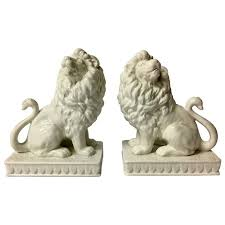 bookends lion pair of lion bookends in white porcelain chine de blanc by fitz