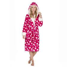 women u0027s spots snuggle fleece hooded robe soft dressing gown
