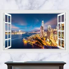 3d generic windows modern downtown night scene wall decal decor see larger image