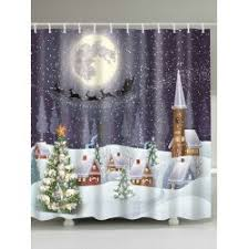 Wholesale Snowing Night Fabric Waterproof Christmas Shower Curtain