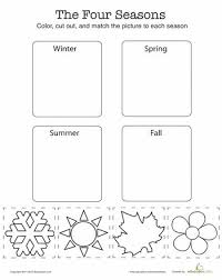 match the four seasons worksheets activities and