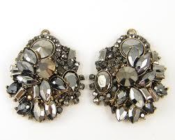 Gunmetal Chandelier Earrings Hematite Color Dark Gray Silver Rhinestone Chandelier Earring