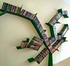 topnotch branch shape bookshelf wall with green colour plus tidy