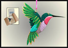hummingbird ornament christmas bird ornament hand painted wood
