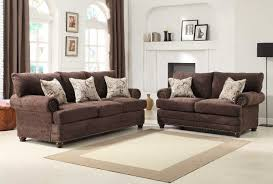 Chenille Sofa And Loveseat Homelegance Elena Sofa Set Chocolate Chenille U9729 3