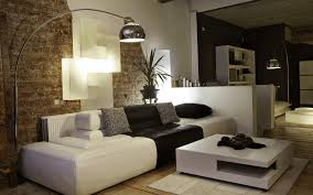 Living Room Brick Wall White Long Fur Rug Dark Brown Lawson Sofa