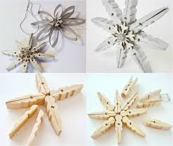 snowflake ornaments made of wooden clothespins κατασκευες