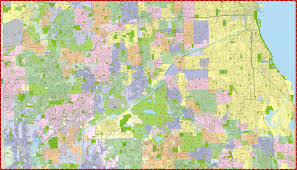 Chicago Area Map by Milwaukee Map Service Illinois Wall Maps