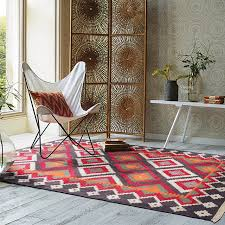 Modern Contemporary Rug Kilim 100 Wool Handmade Carpet Geometric Indian Rug Plaid Striped