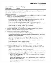 Rn Job Description Resume Director Of Nursing Job Description Clinical Nurse Job