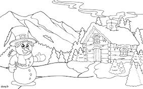 Coloriage un chalet de montagne  Doryfr coloriages