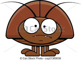 vectors cartoon cockroach frowning cartoon illustration