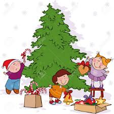 kids decorating christmas tree clipart clipartxtras