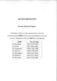 jee advance 2015 paper 1 answer key official with question jee adv u2026
