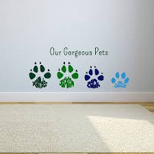 personalised paw print wall art sticker by name art personalised paw print wall art sticker