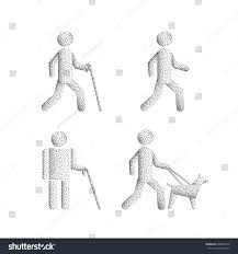 Blind People Stick Set Icons Stick Figure Blind People Stock Vector 699849118