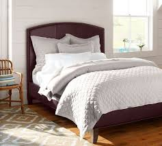 curved bed frame fillmore curved leather headboard bed pottery barn