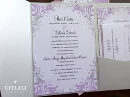 wedding invitations with ribbon lilac silver filigree pocket folder wedding invitations ribbon