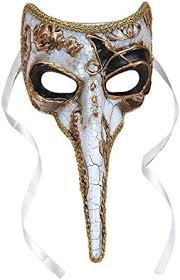 venetian bird mask plague doctor venetian nose mask white w gold