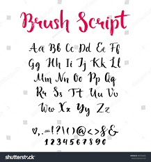 brush script lowercase uppercase letters keystrokes stock vector
