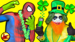 spiderman prank st patrick u0027s day crazy joker ft shrek hulk funny
