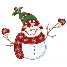 christmas applique with warm scarf wearing snow mittens christmas applique machine