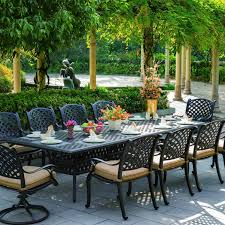 10 person outdoor dining table darlee nassau 11 piece cast