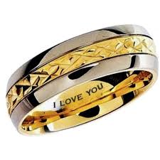 engraved rings gold images Mens gold tone titanium band ring engraved with i love you jpg