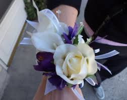 Wrist Corsages For Homecoming Purple Prom Corsage Etsy