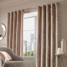 Gold Velvet Curtains Crushed Velvet Pair Of Fully Lined Eyelet Curtains