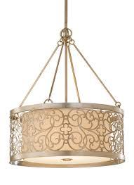 Drum Shade Pendant Light F2537 4slp 4 Light Shade Pendant Silver Leaf Patina