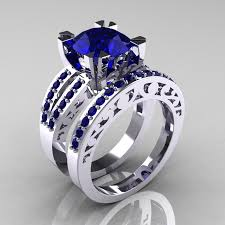 blue wedding rings modern vintage 14k white gold 3 0 carat blue sapphire solitaire
