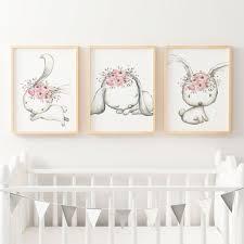 Bunny Nursery Decor Woodland Boho Floral Bunny Nursery Wall Print Set Baby