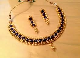 plated choker necklace images Antique one gram gold plated choker necklace in blue indian jpg