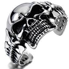 large skull cuff bracelet cool mens bracelet biker skull