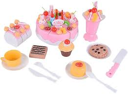 playpink cuisine 75 plastic birthday cake set play food set for pretend play