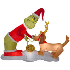 Grinch Blow Up Yard Decoration by Gemmy 8 Ft Inflatable At At On Snow Base Scene 37523 The Home Depot