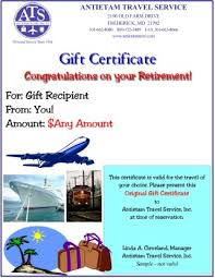 travel gift certificates travel gift certificates antietam travel service