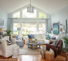 coastal livingroom cozy coastal navy and white living room refresh the happy housie