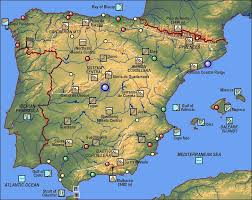 physical map of spain spain physical map