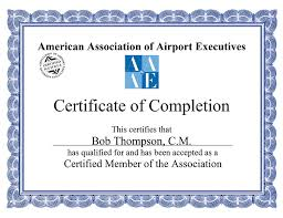 certificate frame american association of airport executives presidential