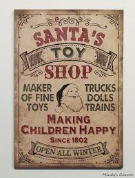 Country Home Wall Decor Vintage Santas Toy Shop Sign Primitive Country Christmas Winter