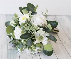 silk wedding flowers white spray flower bouquet eucalyptus roses and fillers silk