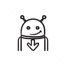 android with arrow down sketch icon vector illustration andrei