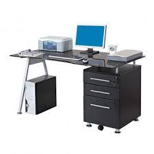 bureau noir verre bureau informatique design avec plateau en verre et tiroirs noir