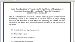 landlord to tenant 30 day notice of expiration lease and in 17