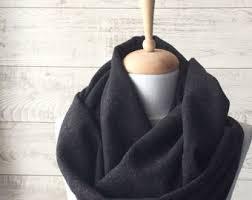 herringbone scarf black scarf mens scarf infinity scarf wool