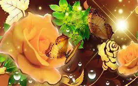 Golden Roses Hd Golden Roses Golden Butterflies Wallpaper Download Free 99715